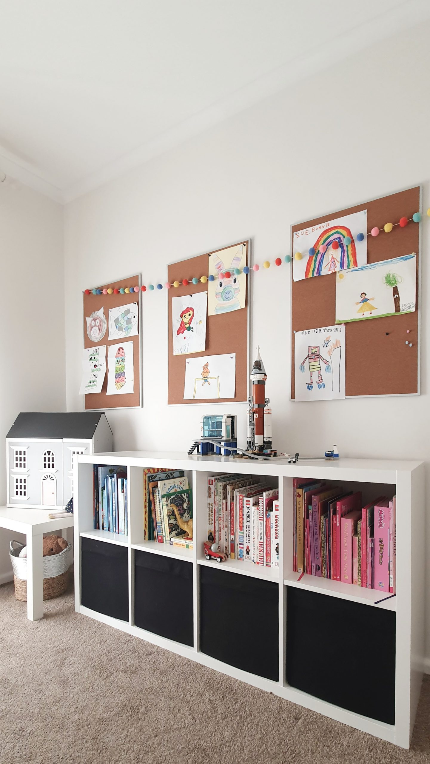 Our Little Playroom  -  Kallax cube shelving toy storage. Kid's artwork display and wooden doll house.