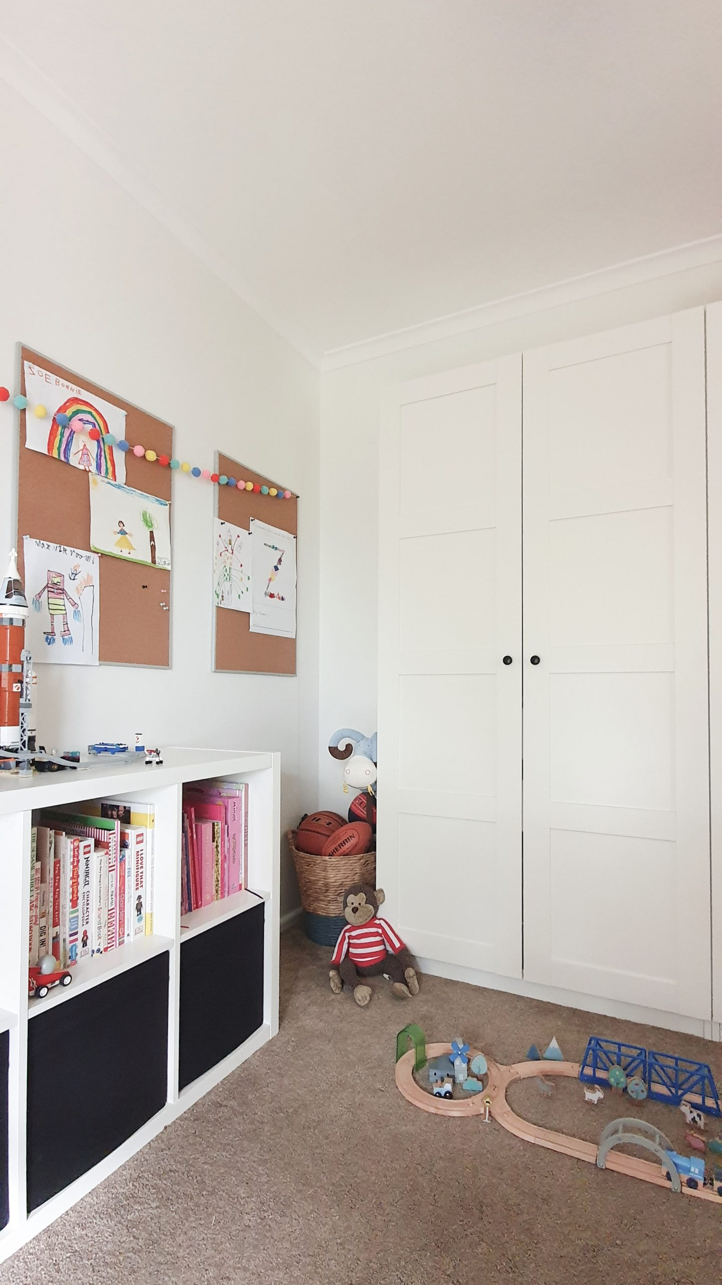 Our Little Playroom  - Pax wardrobes and Kallax cube shelving for toy storage