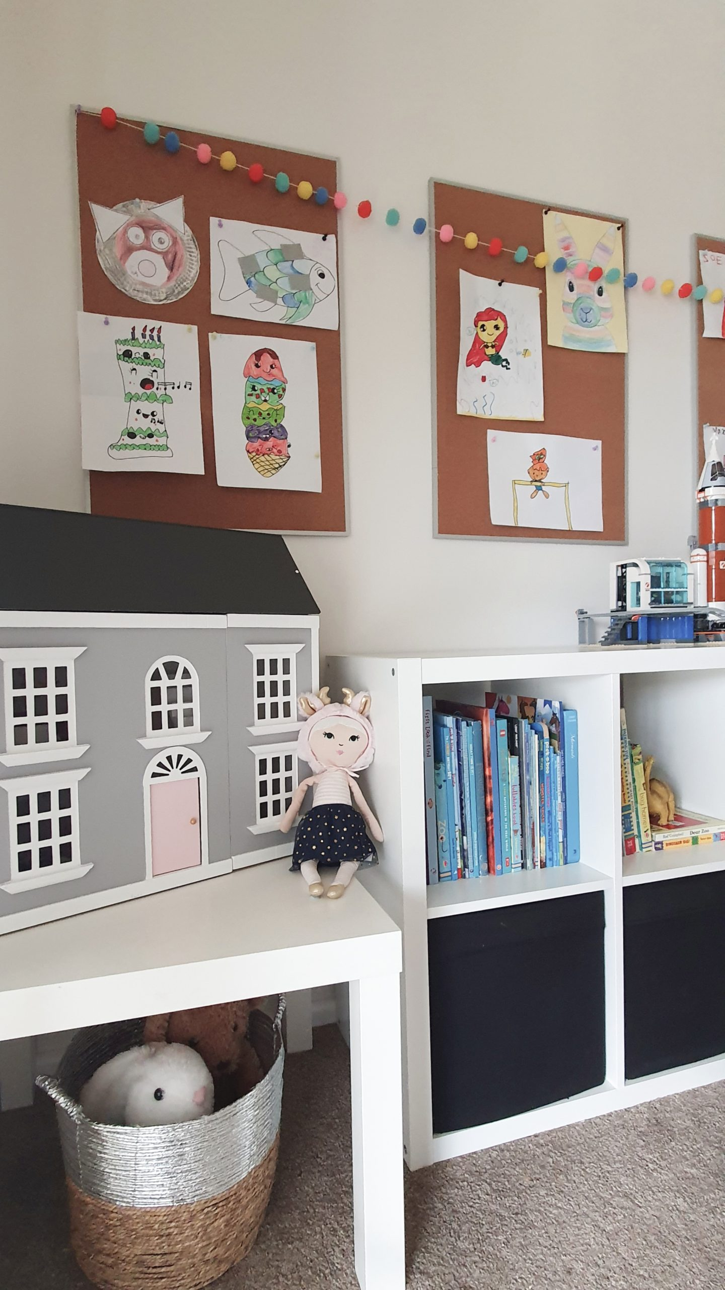 Our Little Playroom  -   Kallax cube shelving toy storage. Wooden Doll House.