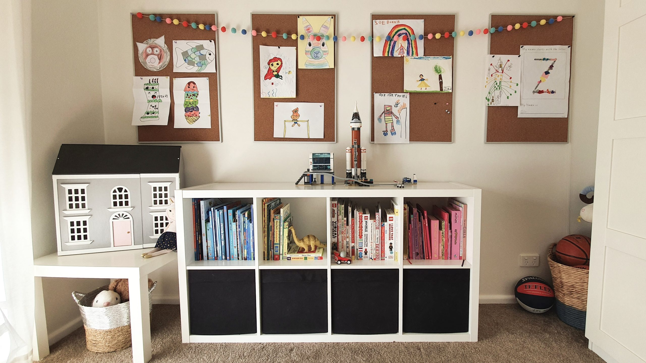 Our Little Playroom  -  Pax wardrobes and Kallax cube shelving toy storage. Pin board kid's artwork display.