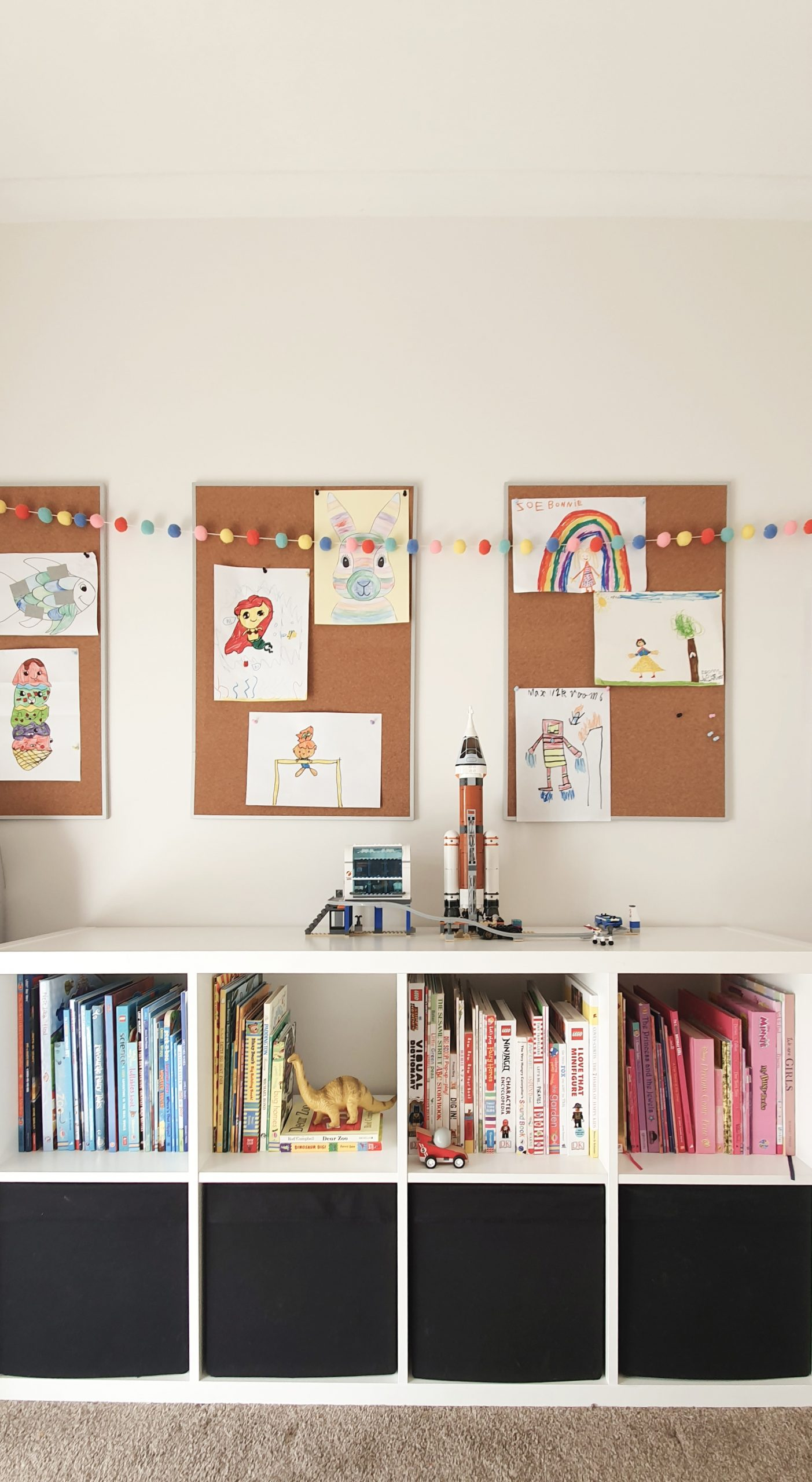 Our Little Playroom  -  Kallax cube shelving toy storage. Pin board kid's artwork display.