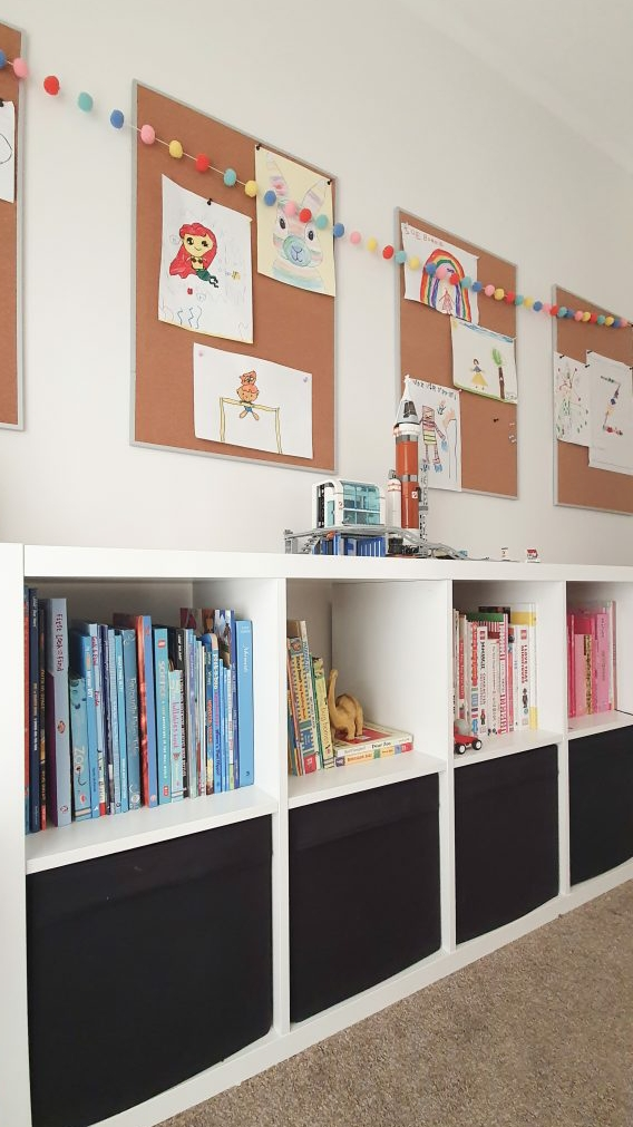 Our Little Playroom  -  Kallax cube shelving toy storage. Kid's artwork display.