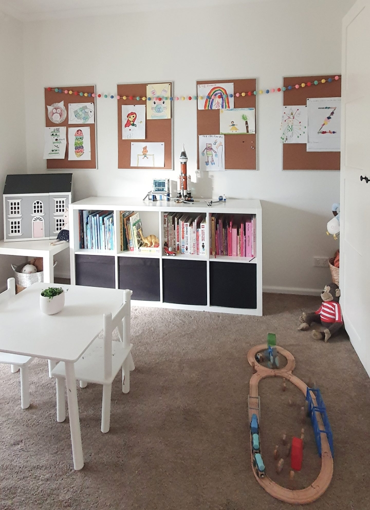 Our Little Playroom  -  Pax wardrobes and Kallax cube shelving toy storage. Kid's artwork display and wooden doll house.